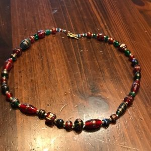 Christmas glass beads necklace
